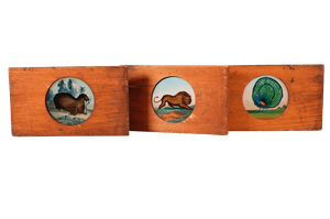 Three Glass Slides with Primitive Hand Painted Animals