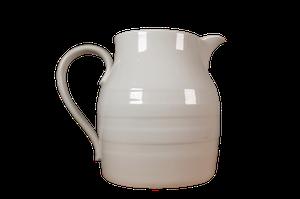 Large White Glazed Banded Dairy Jug