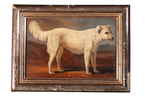 Oil on Board of a Hound in Silver Gilt Frame