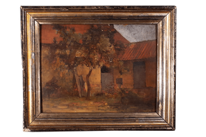 Oil on Board of a French Farmyard Scene in Silver Gilt Frame