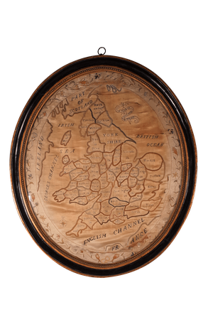 Silk Embroidered Map of England in Original Ebonised Oval Frame