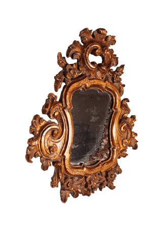 Carved Gilt Mirror with Original Plate