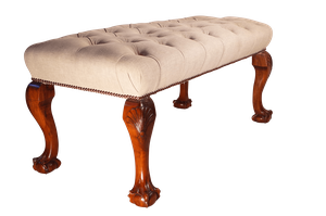 Deep Buttoned Stool on Carved Cabriole Legs