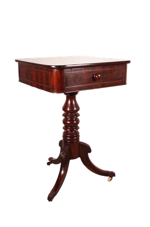 Mahogany Pedestal Table with Drawer