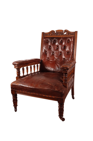 Edwardian Mahogany Buttoned leather Open Armed Parlour Chair