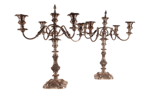 Pair of Sheffield Plate Candelabras