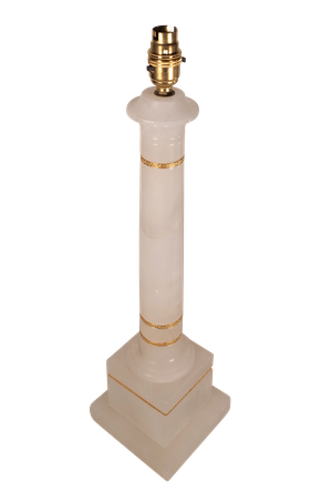 Alabaster Column Lamp with Ormolu Banding