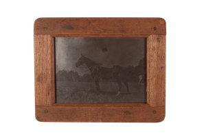 Edwardian Framed Glass Negative of Lady on a Horse