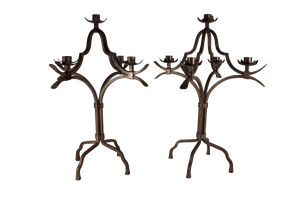 Pair of Iron Candelabras