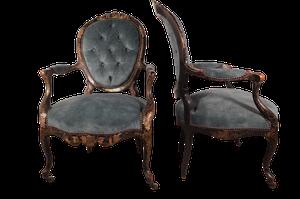 Pair of Napoleon III Louis XV Style Chinoiserie Buttoned Salon Fauteuils