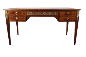 Leather Topped Walnut Empire Style Desk with Ormolu Decoration on Square Tapering Legs