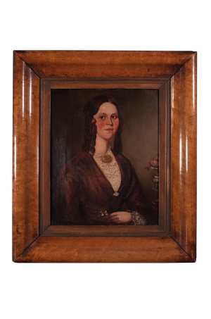 Oil on Canvas Portrait of a Lady in Period Costume Mounted in a Birds Eye Maple Frame