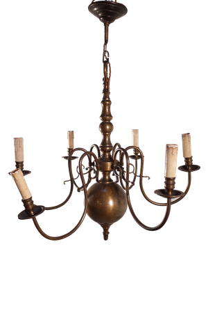 Six Branch Dutch Brass Chandelier