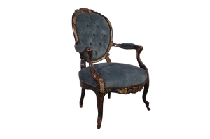 Napoleon III Louis XV Style Chinoiserie Buttoned Salon Fauteuil