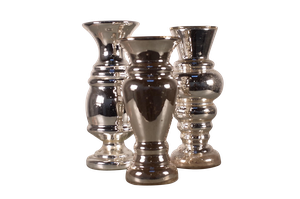 Three Mercury Glass Vases