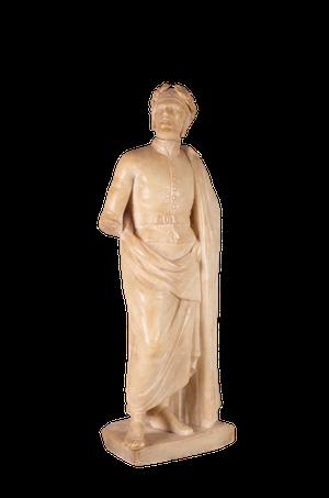 Alabaster Model of Classical Roman Figure in Cloak and Laurel Headdress