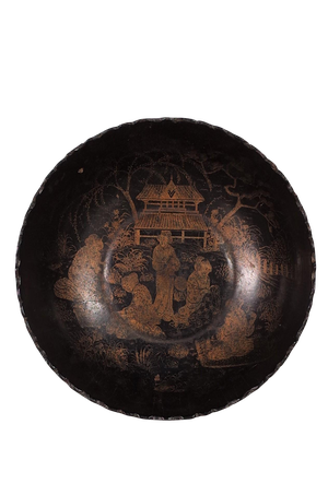 Lacquered Chinoiserie Papier Mache Bowl