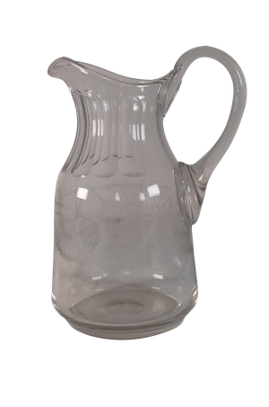 Glass Water Pitcher Etched with Swags and Bows