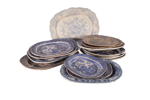 Victorian Blue and White Country House Serving Platters