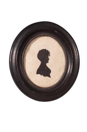 Oval Silhouette of Lady in an Ebonised Frame with Embossed Brass Edging