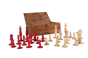 Bone Chess Set in Old Wooden Tobacco Box