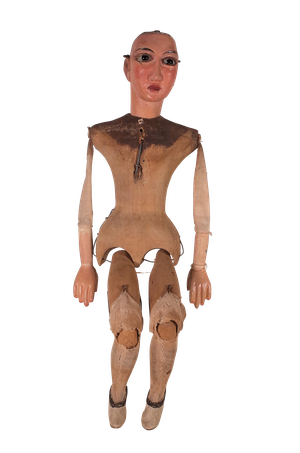 Wooden Marionette with Glass Eyes