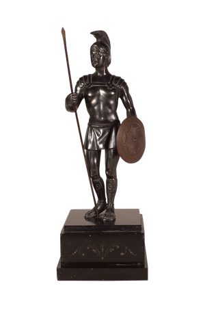 Bronze Patinated Spelter Roman Soldier on Marble Base