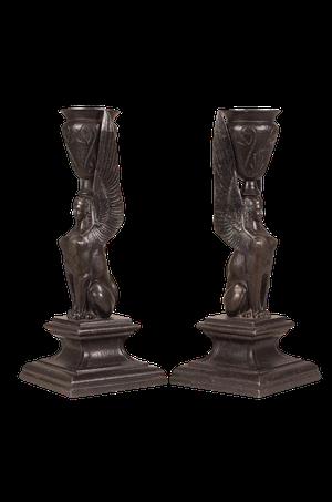 Pair of Spelter Egyptian Revival Candlesticks