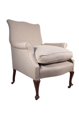 Reupholstered Victorian Armchair on Cabriole Legs