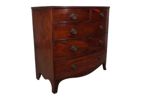 George III Bow Fronted Flame Mahogany Chest of Drawers