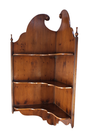 Edwardian Yew Corner Shelf