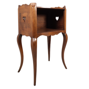 Polished Walnut Night Stand with Hearts