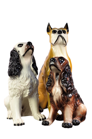 Ceramic Models of a Boxer and Two Spaniels