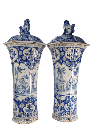 Pair of Delft Lidded Vases