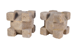 Two Carved Stone Geometric Cubes