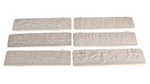 Set of Six Plaster Plaques of Neo Classical Roman Scenes
