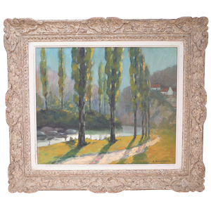 Oil on Canvas Landscape of Poplar Trees by River
