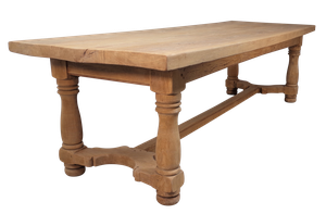 Large Stripped Fruitwood Dining Table