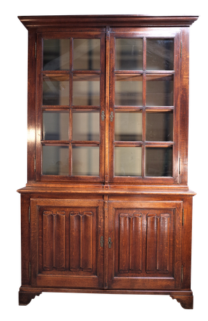 Napoleon III Oak Glazed Biblioteque with Carved Linenfold Detail