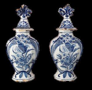 Pair of Lidded Delft Vases