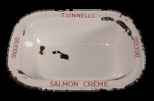 Edwardian Enamel Salmon Crème Dish