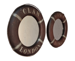 Pair of Small Painted Wooden Lifebuoy Style Mirrors