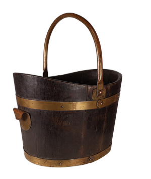 Coopered Oak and Brass Bucket