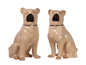 Pair of Staffordshire Pottery Pugs