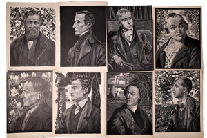 Edwardian Scraffito Cards of Classical Male Figures