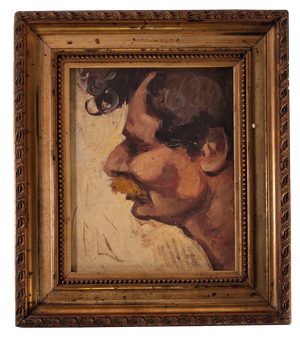 Small Oil on Board of Male Portrait in Gilt Frame