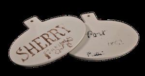 Ceramic Bin Labels 'Port' & 'Sherry'