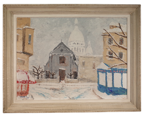 Oil on Canvas of Snowy Street Scene with Sacre Coeur, signed 'Ghuet'