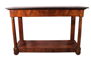 Empire Walnut Veneered Console with Concealed Drawer and Black Marble Top