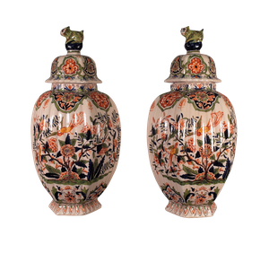 Pair of Hand Decorated Faience Lidded Jars